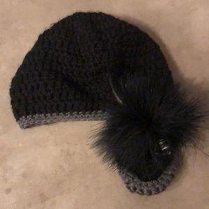💟 3 for $18 Crochet Hat with Fur Appliqué